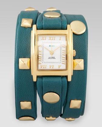 La Mer Studded Wrap Rectangle Watch, Teal
