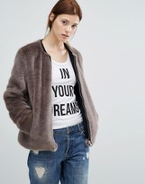 Urban Code Urbancode Bomber Jacket In Faux Fur