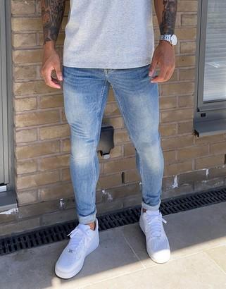 Topman super spray on jeans in light wash blue