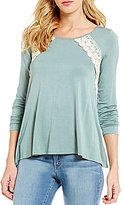 Jolt Lace-Up Super Soft Knit Lace-Detail Long-Sleeve High-Low Top