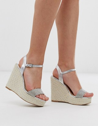 Lipsy rhinestone wedge in sliver