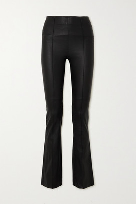 REMAIN Birger Christensen Floral Leather Flared Pants - Black
