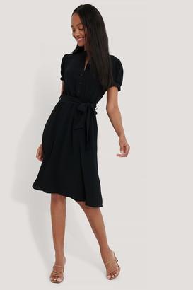 NA-KD Tie Waist Short Balloon Sleeve Dress