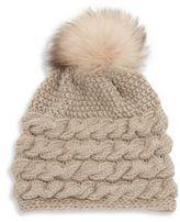 Inverni Fox Fur Pom-Pom & Braided Cashmere Beanie