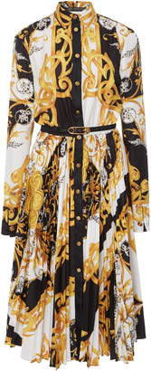 Versace Printed PlissA Crepe Belted Shirt Dress