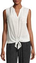 Joie Edalette Sleeveless Tie-Hem Top, White