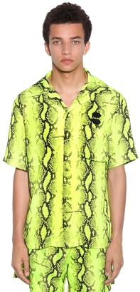 Off-White Snake Holiday Print Tech Bowling Shirt