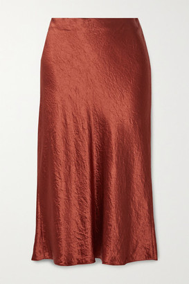 Vince Hammered-satin Midi Skirt - Brick