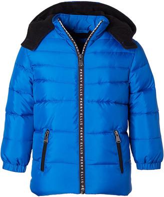Perry Ellis Boys' Puffer Coats ROYAL - Royal Blue & Black Contrast Logo-Tape Hooded Puffer Coat - Boys