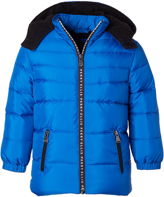 Perry Ellis Boys' Puffer Coats ROYAL - Royal Blue & Black Contrast Logo-Tape Hooded Puffer Coat - Toddler & Boys
