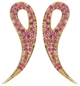 House Of Waris 18kt Gold Drop Spike Earrings With Pavé Pink Sapphires
