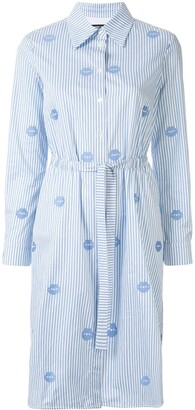 Markus Lupfer Long Sleeve Striped Lips Print Shirt Dress