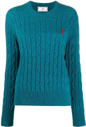 AMI Paris Ami de Coeur cable knit jumper