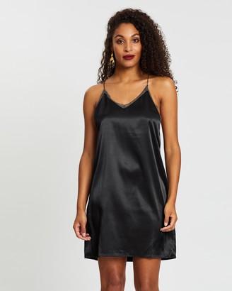 NA-KD Contrast Lace Satin Mini Dress