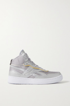 Reebok x Victoria Beckham Dual Court Suede-trimmed Metallic Textured-leather And Mesh Sneakers - Silver