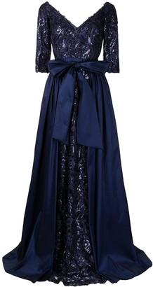 Tadashi Shoji Bashira draped bow gown