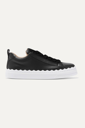 Chloé Lauren Scalloped Leather Sneakers - Black