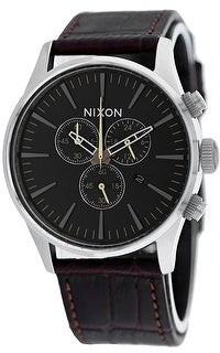 Nixon Men's Sentry Chrono Leather Brown Watch - A405-1887 - One Size