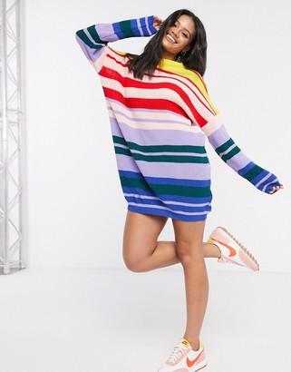 Daisy Street oversized sweater dress in rainbow knit stripe
