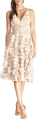 Dress the Population Elisa Floral Applique Embroidered Fit & Flare Dress