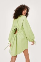 Thumbnail for your product : Nasty Gal Womens Poplin Keyhole Back Mini Shirt Dress - Green - 4