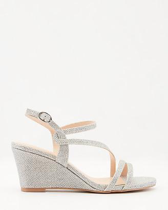 Le Château Glitter Mesh Asymmetrical Wedge Sandal
