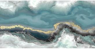 John Lewis & Partners Dominic James Studio - Influx Embellished Framed Canvas, 60 x 120cm, Blue/Multi