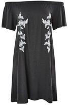 Topshop Embroidered Bardot Dress