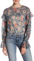 Melrose and Market Ruffle Sleeve Floral Lace Blouse (Regular and Petite)