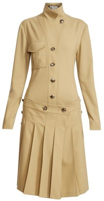 Chloé Stretch Virgin Wool Pleated Shirtdress
