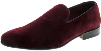 Dolce & Gabbana Burgundy Velvet Smoking Slippers Size 40