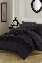 Monroe Ruching Pleated Ruffles Complete Bed in a Bag 10-Piece Comforter Set - Black