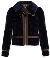Kolor Cropped faux-fur biker jacket