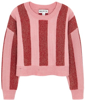 Wildfox Couture Giselda striped metallic-weave jumper