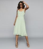 Reiss THORA PLEATED CHIFFON DRESS Aqua
