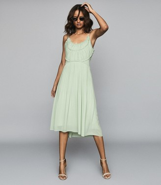 Reiss THORA PLEATED CHIFFON DRESS Aqua