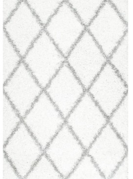 "nuLoom Easy Shag Cozy Soft and Plush Diamond Trellis White 3'2"" x 5' Area Rug"