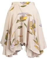 Halston Pleated Printed Crepe De Chine Mini Skirt
