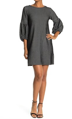 Max Studio Striped 3/4 Balloon Sleeve Shift Dress