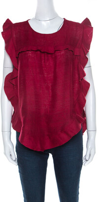 Isabel Marant Burnt Red Slub Silk Ruffled Trim Sidony Curved Hem Top M