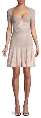 Alexander McQueen Metallic Striped Drop-Waist Flare Dress