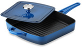 Calphalon Simply Blue Enamel Cast Iron 11-Inch Grill Pan with Press