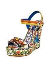 Dolce & Gabbana Tile-Print Embellished Platform Sandal