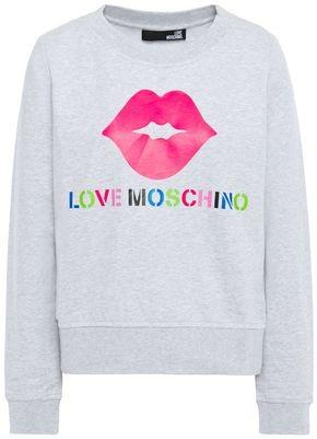 Love Moschino Printed Melange Cotton-blend Fleece Sweatshirt
