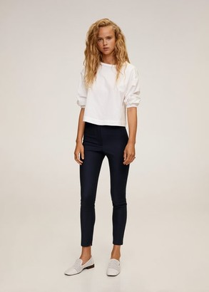 MANGO Elastic waist pants dark navy - 1 - Women