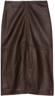 Co Lambskin Slit Front Skirt in Brown