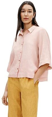 Eileen Fisher Classic Collar Elbow Sleeve Shirt (Powder) Women's Clothing