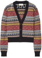 Saint Laurent Cropped Striped Cotton-blend Cardigan - Red
