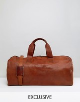 Reclaimed Vintage Inspired Leather Holdall Bag In Tan