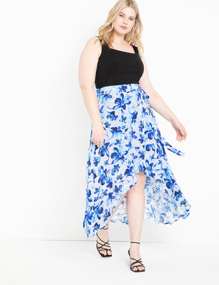 ELOQUII High Low Wrap Skirt with Flounce